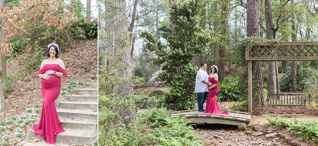 beautiful outdoor maternity session with mama-to-be in a red gown at mercer arboretum in houston
