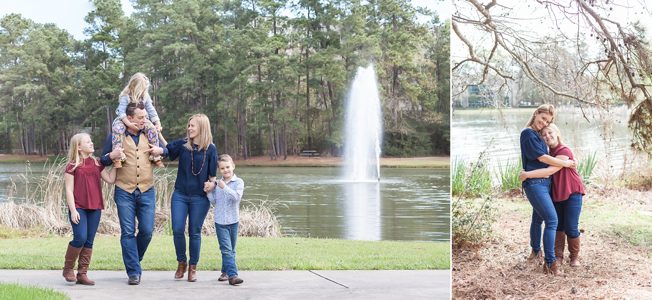 outdoor family photos with parents and kids in the woodlands, texas