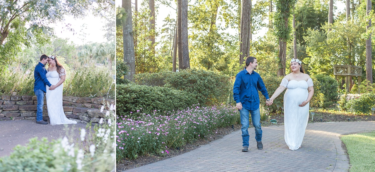 outdoor maternity session at mercer arboretum featuring mama-to-be in an ivory lace gown
