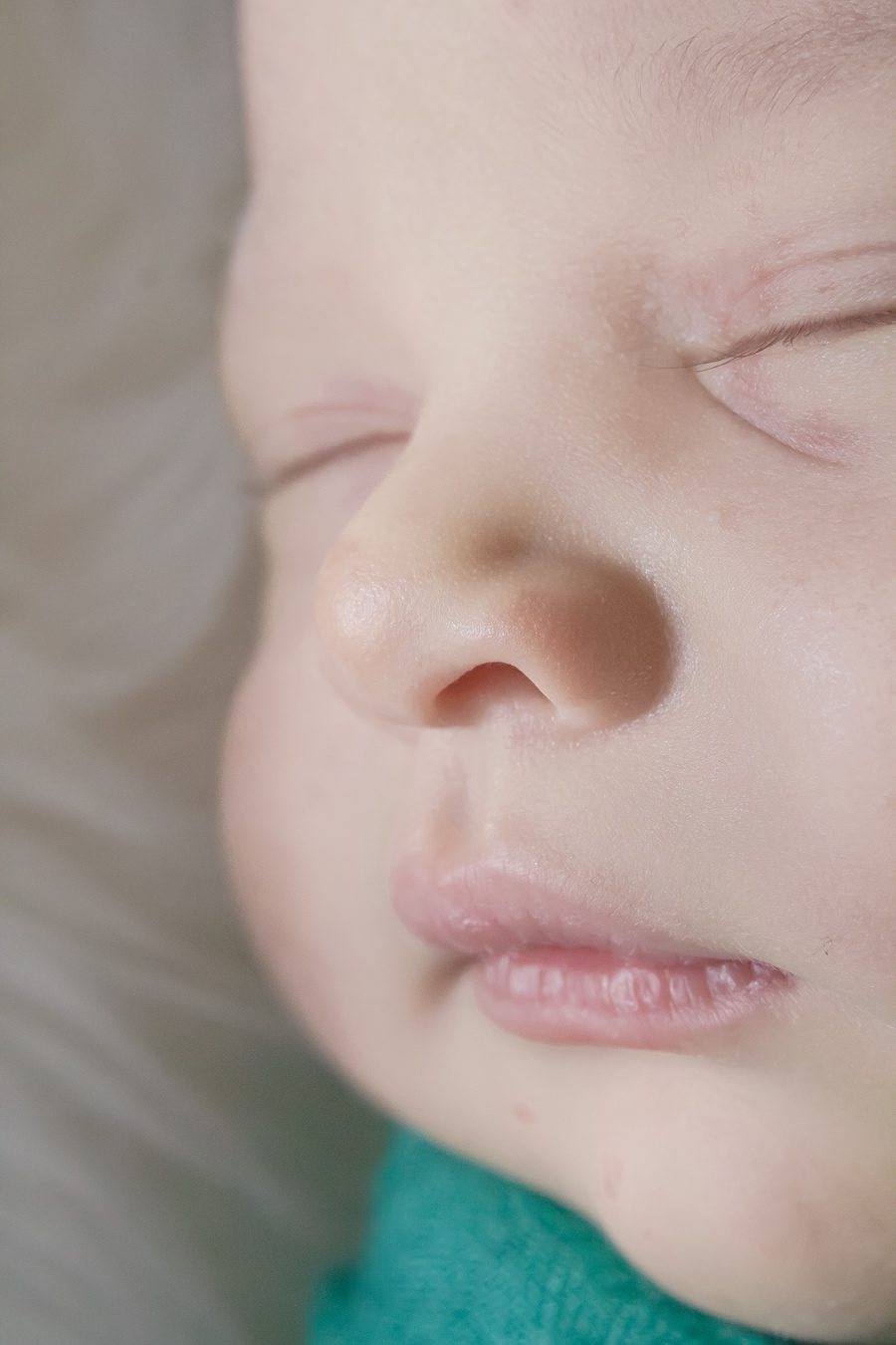 closeup of newborn baby at-home newborn photo session the woodlands tx