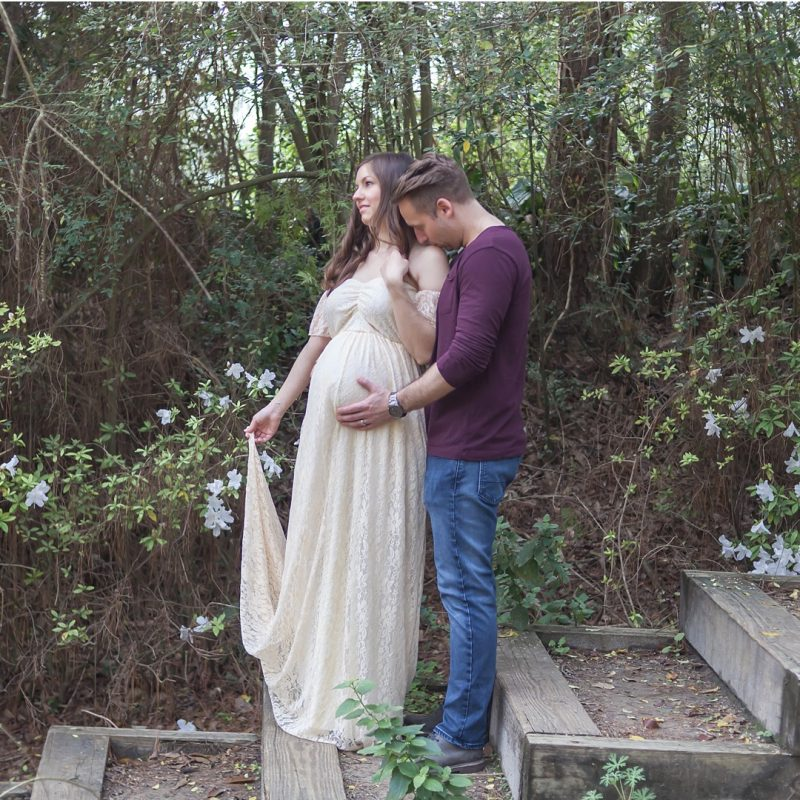outdoor romantic couples maternity session houston texas