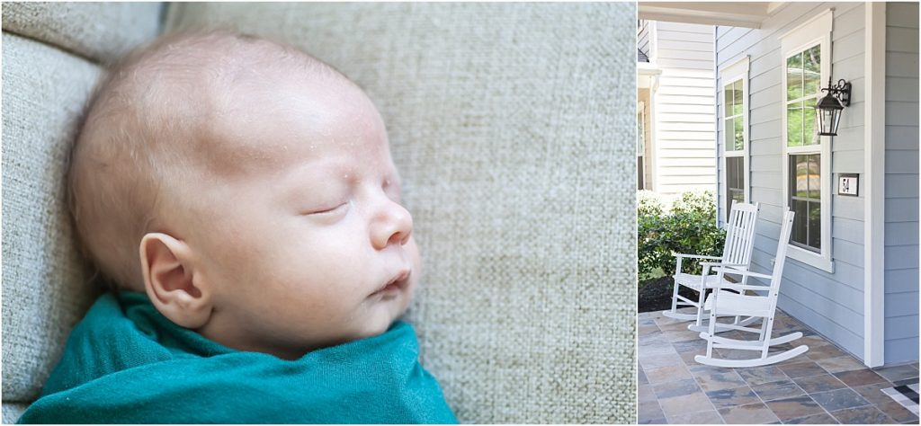 profile of brand new baby laying on couch in the woodlands texas