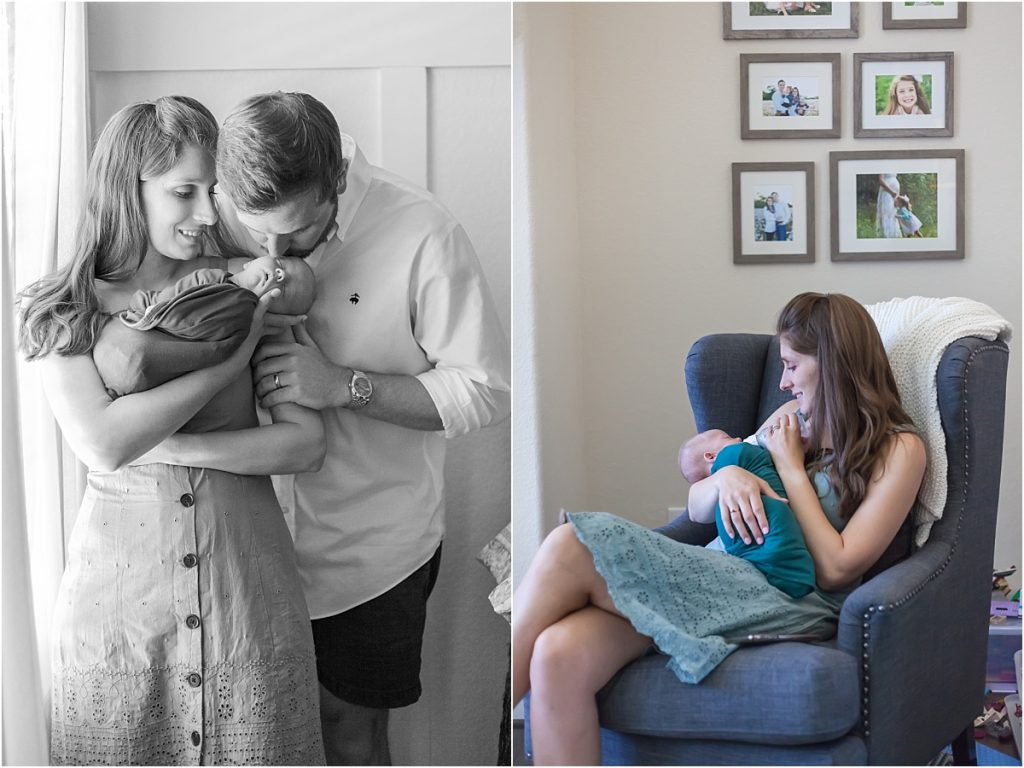 mom and dad kiss newborn son in baby's nursery the woodlands texas