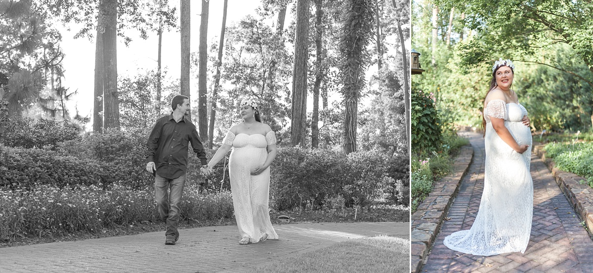 relaxed outdoor maternity photography session in the woodlands, texas