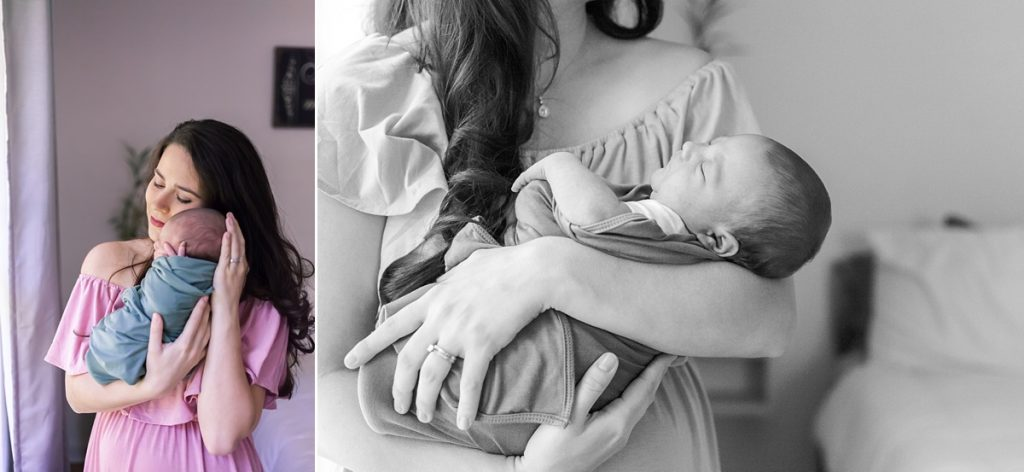 mom with baby during newborn session in houston