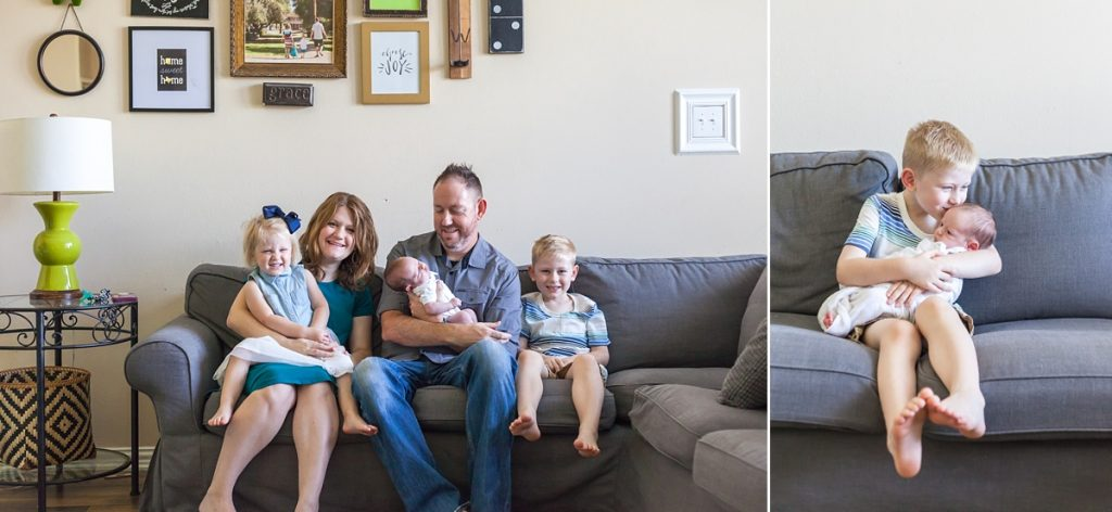 family sitting in living room during at-home newborn session in houston