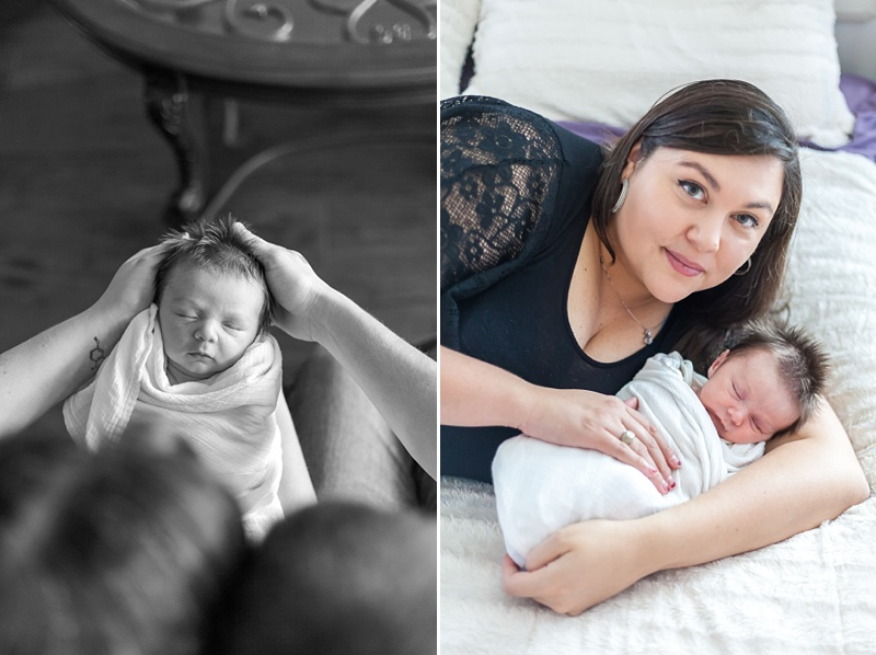 new mom holding baby during newborn session