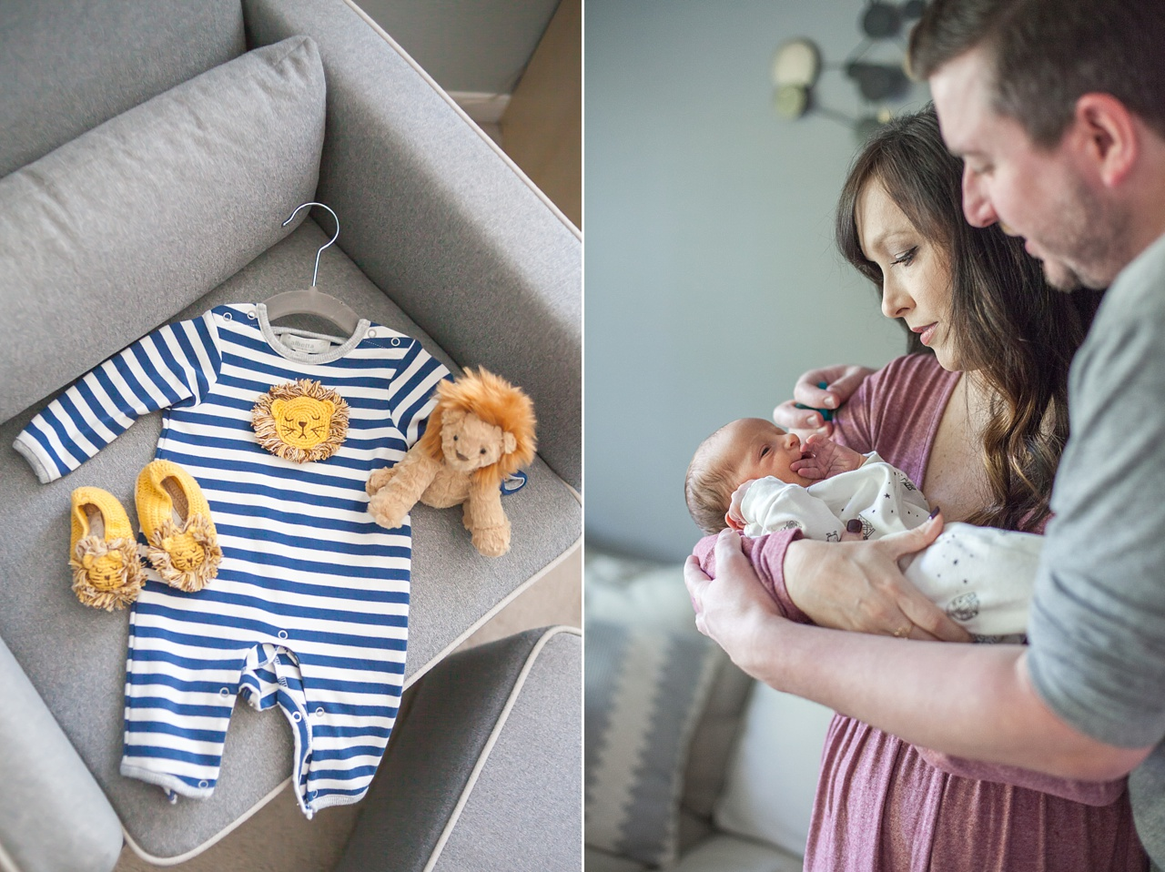 new mom holding infant son during newborn photography session