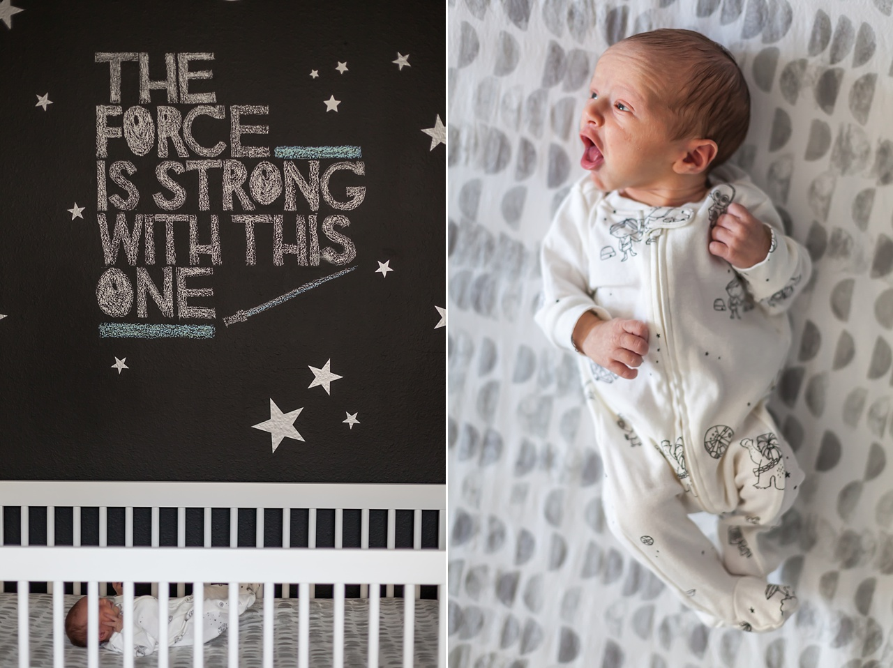 star wars themed nursery with infant baby boy