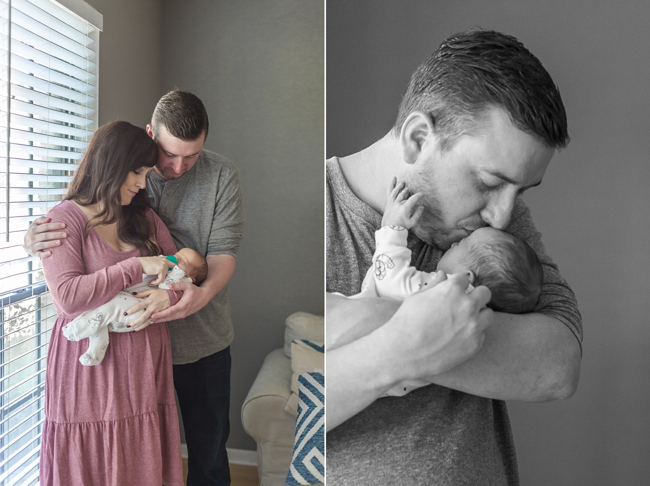 new father kisses infant son on forehead in the woodlands, texas