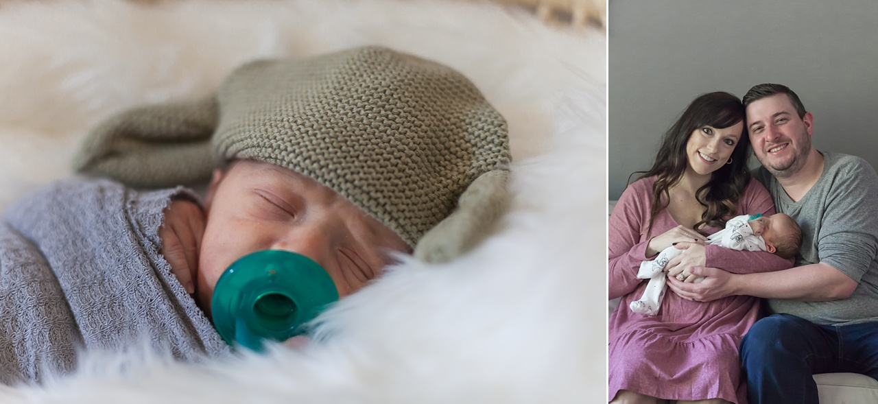 new family of three smiles during in-home newborn photography session