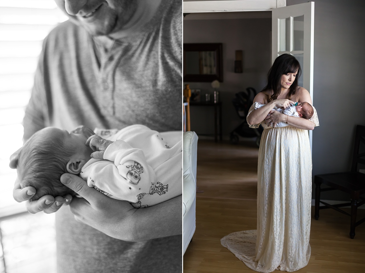beautiful new mother holds infant son in ivory gown