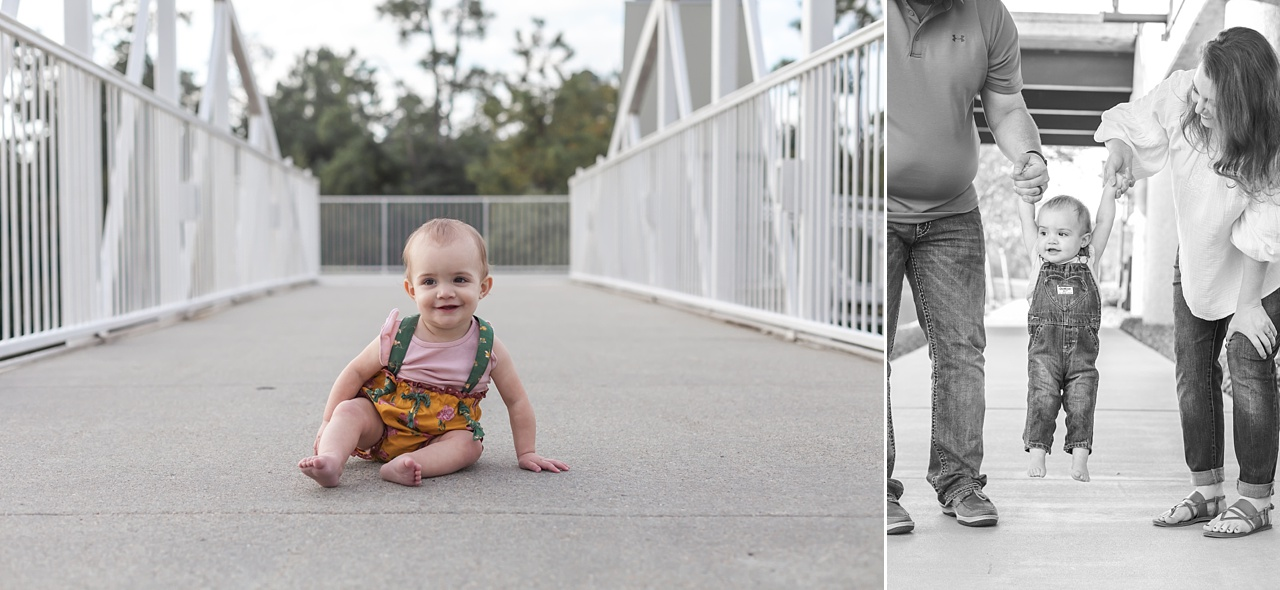 one year old photography session the woodlands waterway