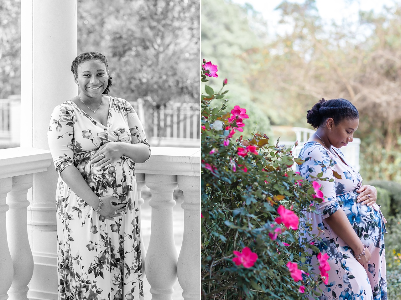 pregnant mom during outdoor maternity photo session the woodlands