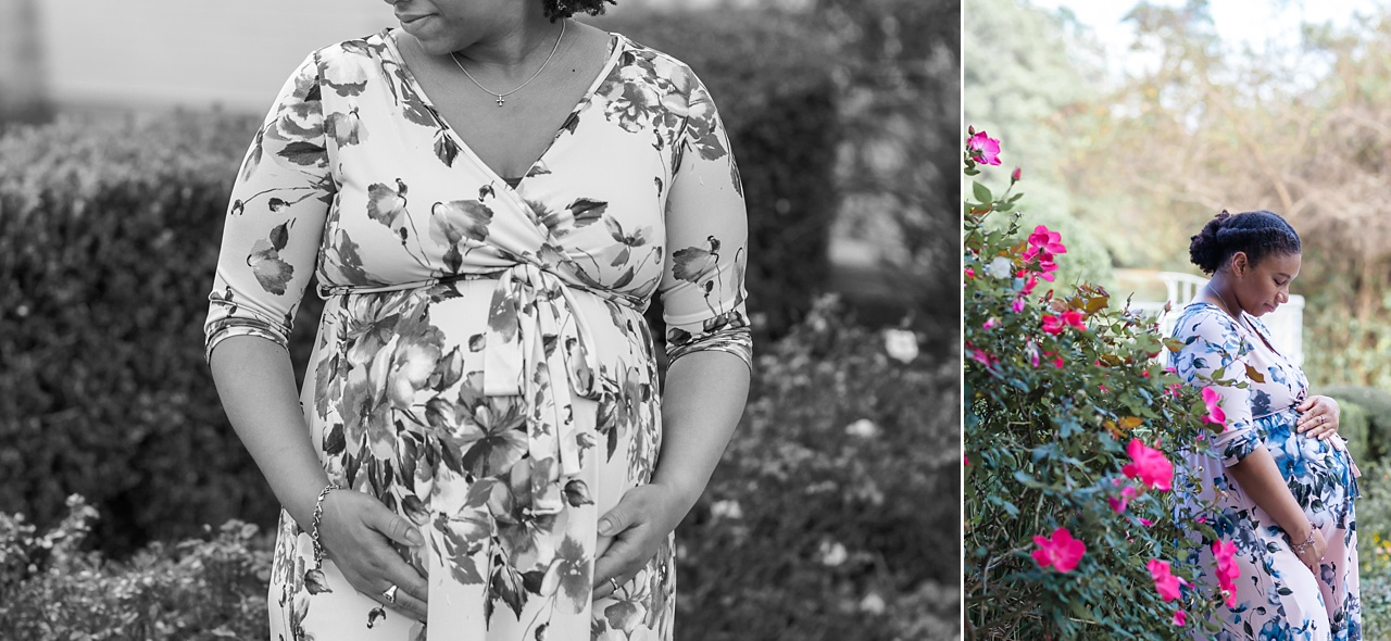 mom-to-be portrait session outdoors in the woodlands texas