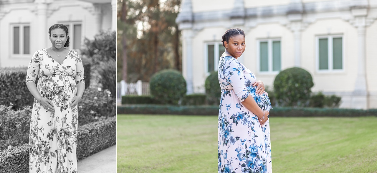 romantic maternity mini session with soft pink and blue gown the woodlands
