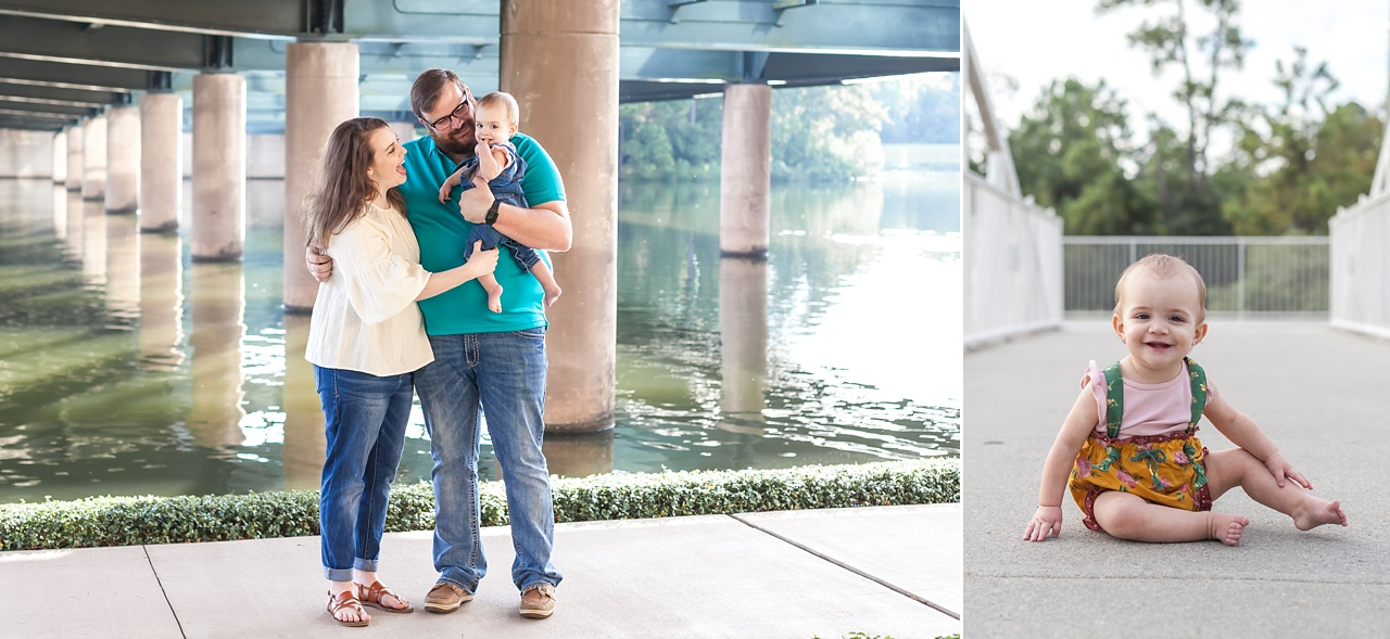 outdoor family session the woodlands waterway