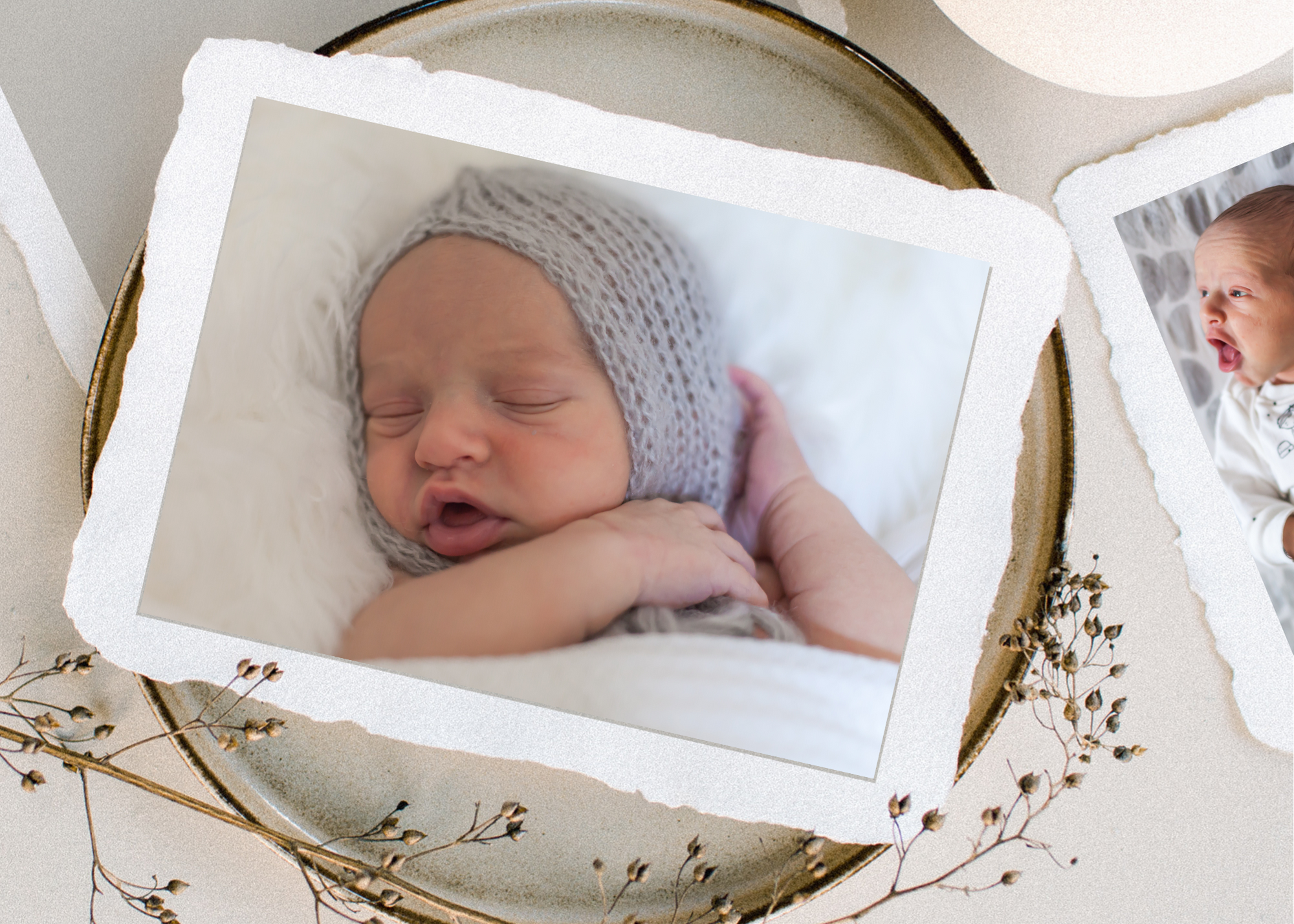 framed photos of newborn baby boy on a table, photographed by kristal bean photography