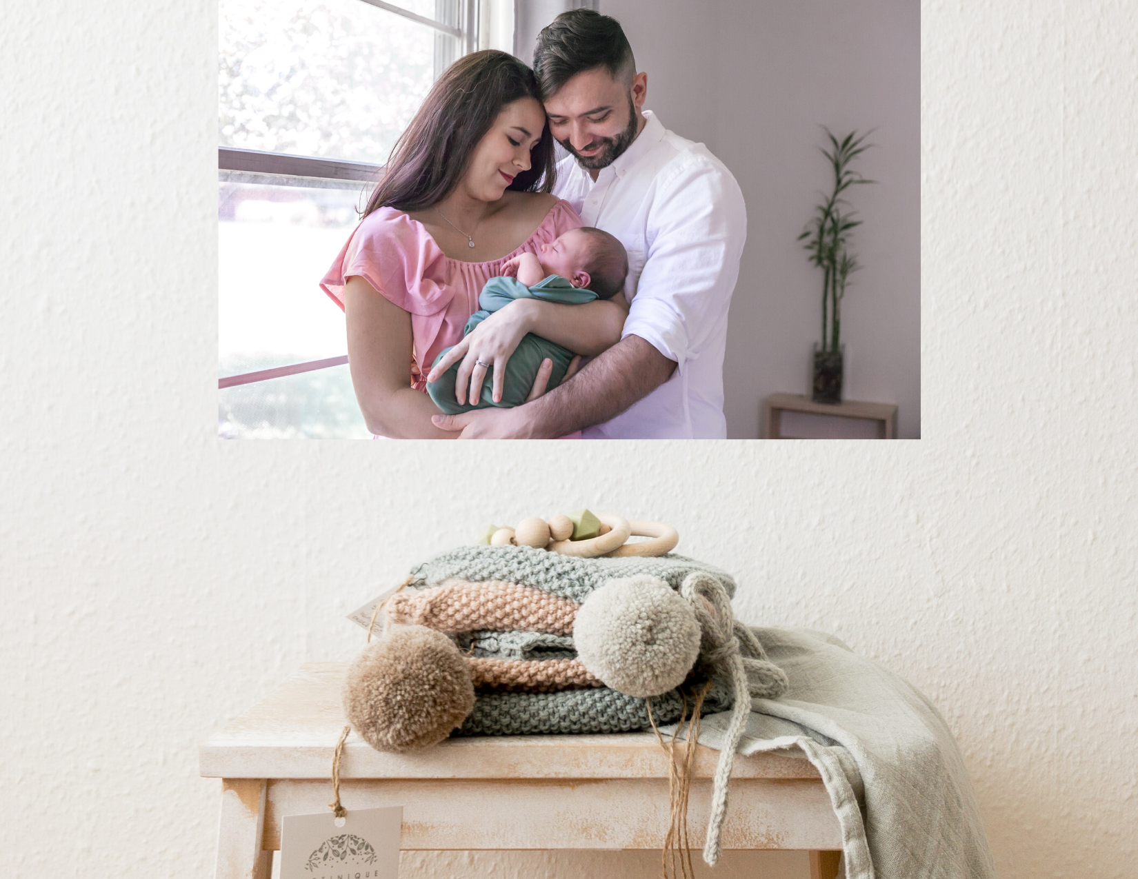 sweet nursery for newborn featuring photo of new parents holding baby by kristal bean photography