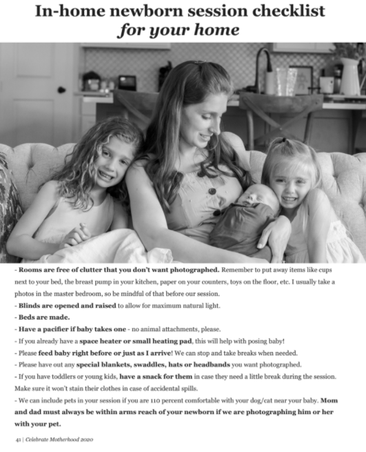 screenshot from kristal bean photography celebrate motherhood magazine