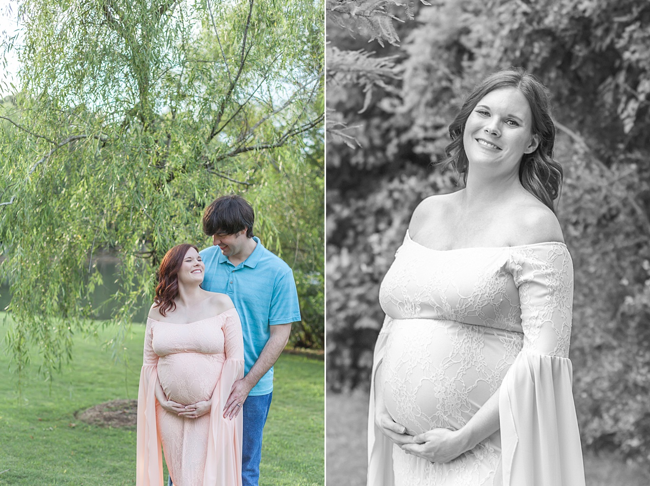 pregnancy photo shoot in the woodlands texas featuring light pink gown by kristal bean photography