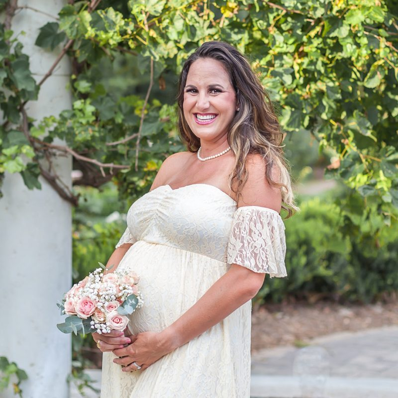 beautiful pregnant mom in ivory lace gown at mercer arboretum by kristal bean photography