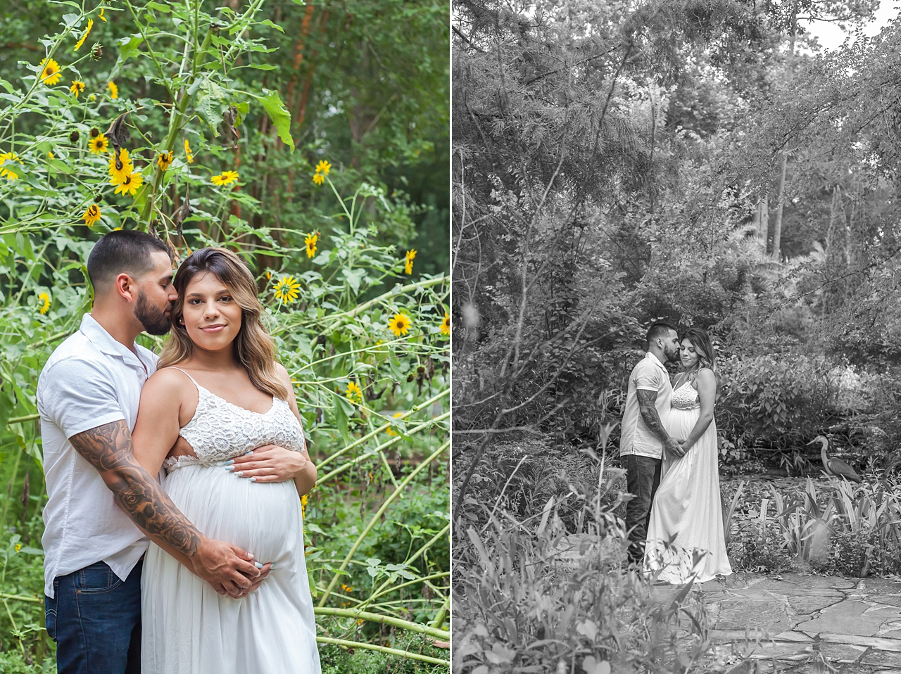 romantic maternity photo session at mercer arboretum by kristal bean photography