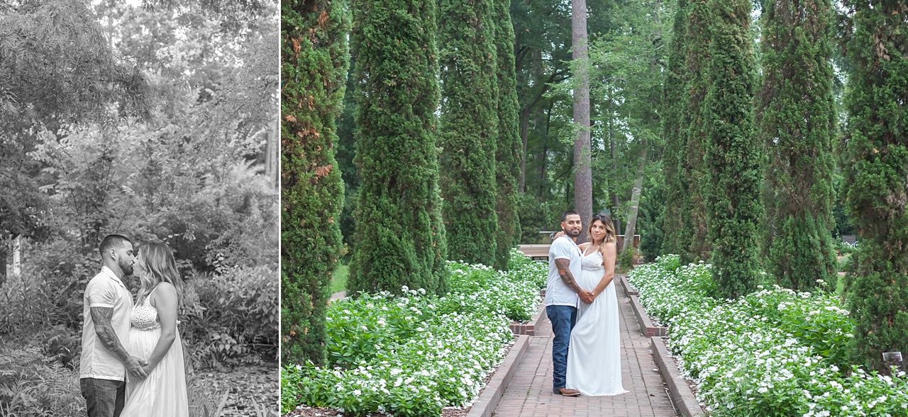 parents-to-be celebrate pregnancy with maternity photos at outdoor garden in houston texas