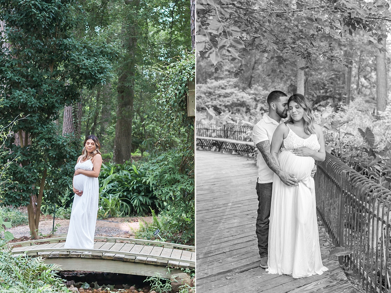 couples maternity session featuring mama-to-be in a white gown at mercer arboretum by kristal bean photography