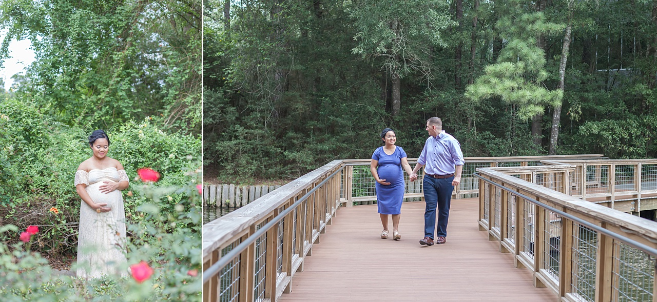 mom-to-be surrounded by pink knockout roses during maternity photo shoot in the woodlands texas