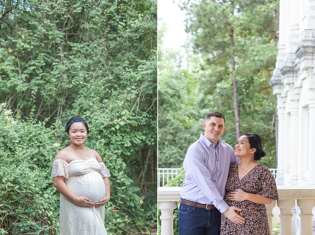 beautiful couples photography session celebrating pregnancy in the woodlands texas