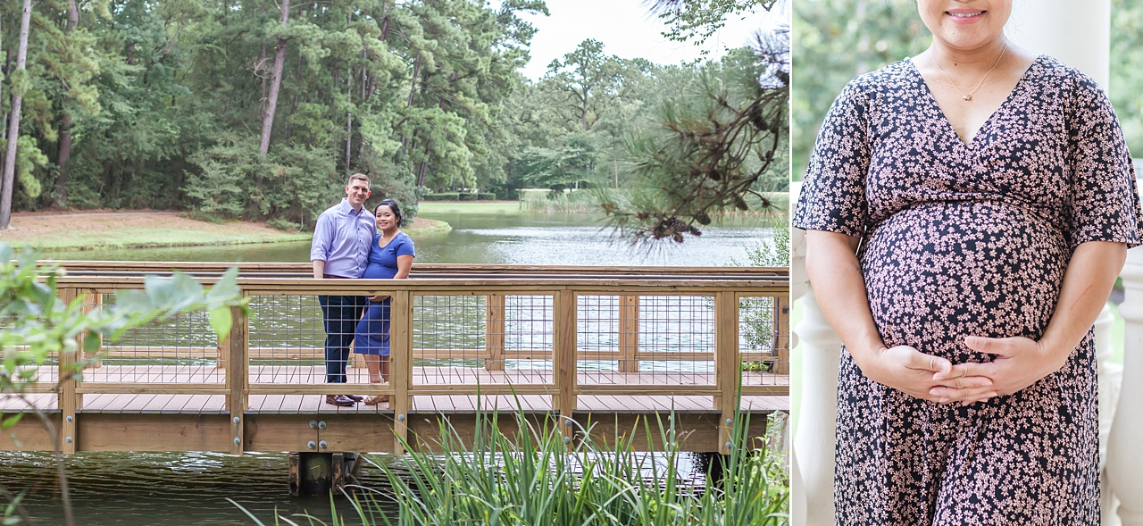 first-time mom and dad smile in maternity photos in the woodlands