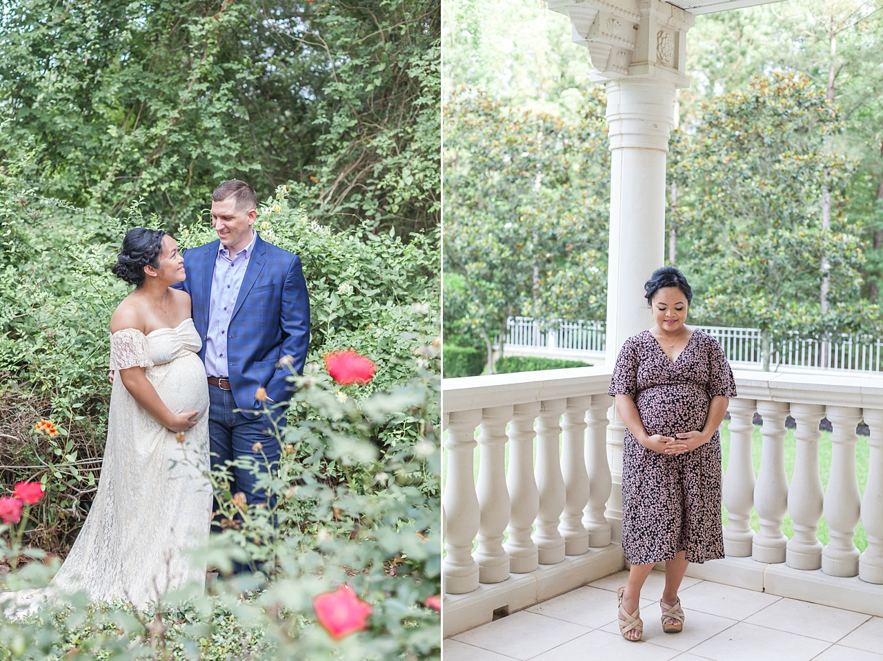 pregnant mom in ivory gown surrounded by pink knockout roses during maternity photo shoot