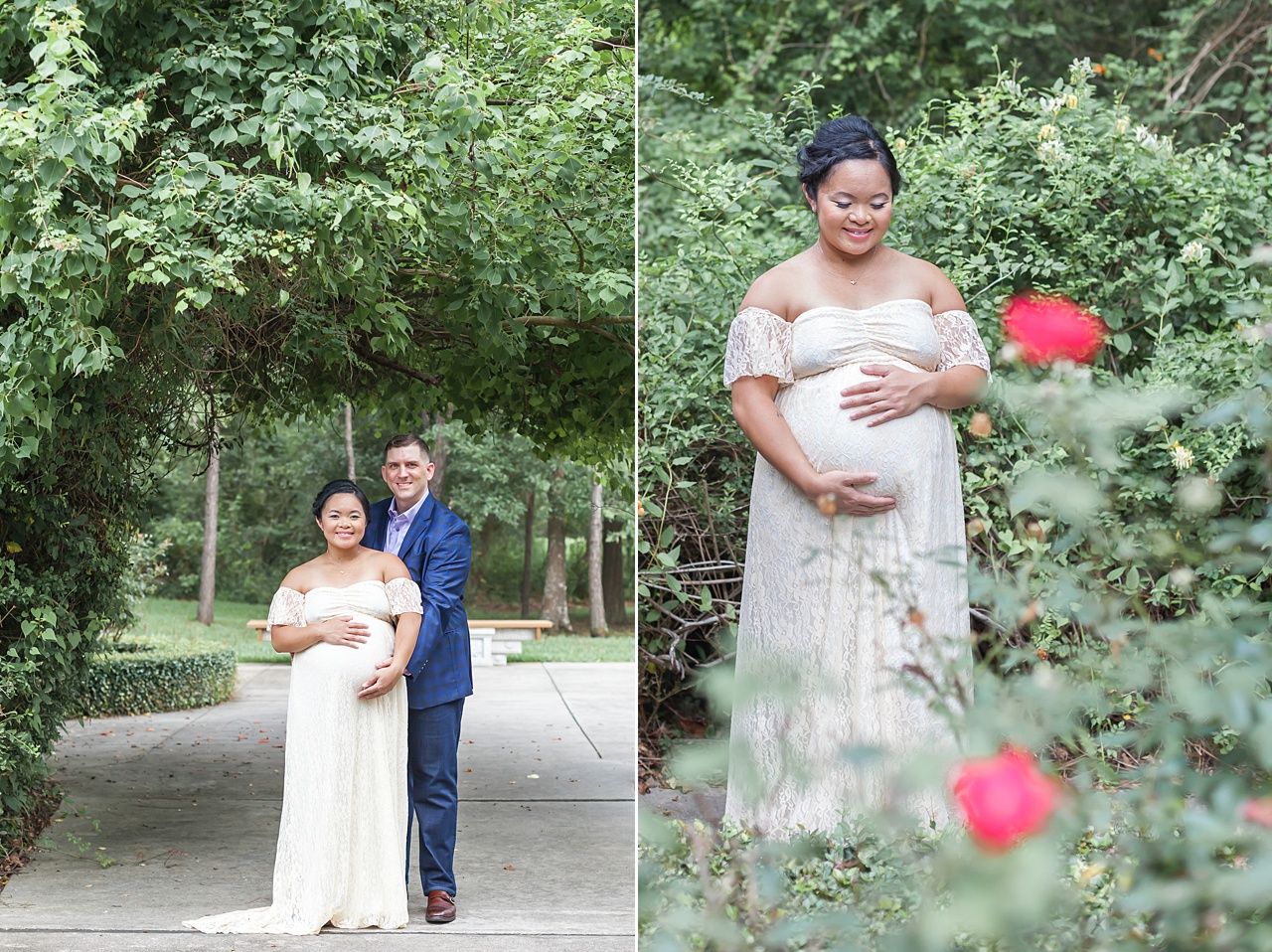 happy expectant parents smile during maternity photos featuring pregnant mom in ivory gown