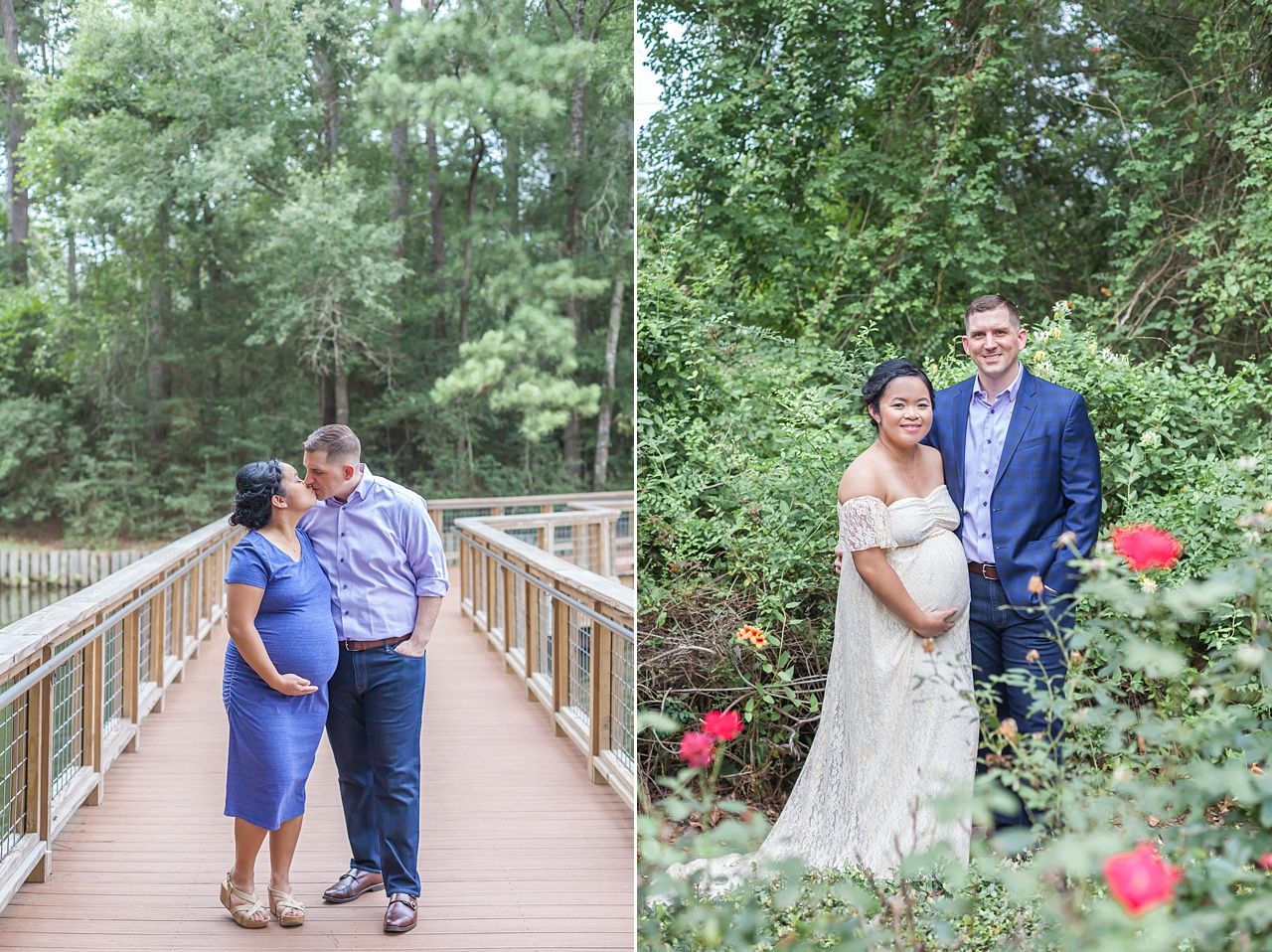 beautiful outdoor maternity photography with green backdrop in the woodlands, texas