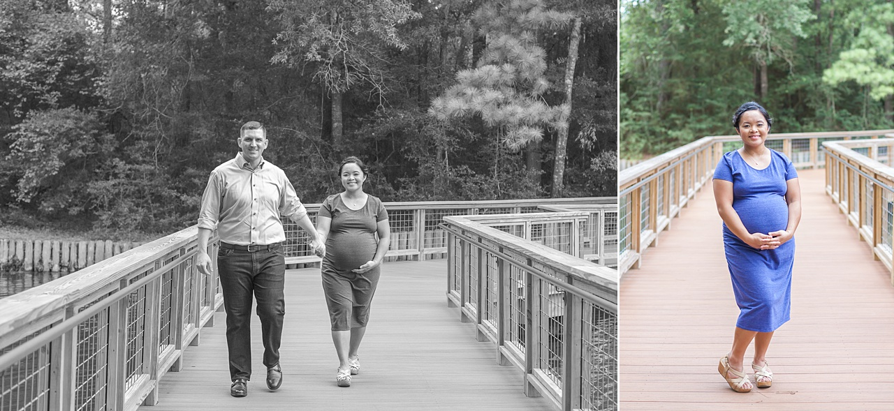 first-time parents smile on wooden bridge during maternity photography session in the woodlands