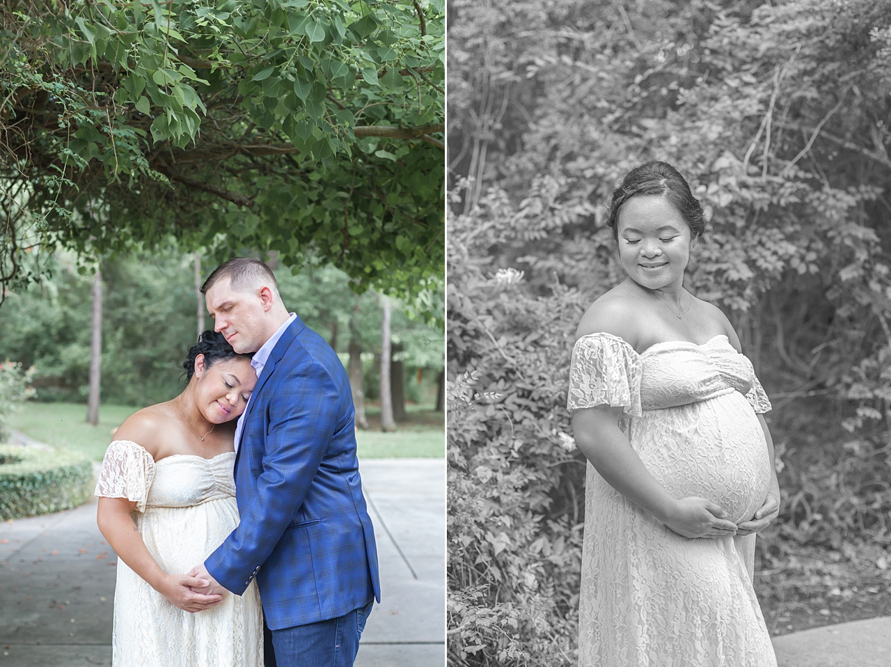 beautiful pregnant mom in ivory gown smiles in her maternity photo shoot in the woodlands