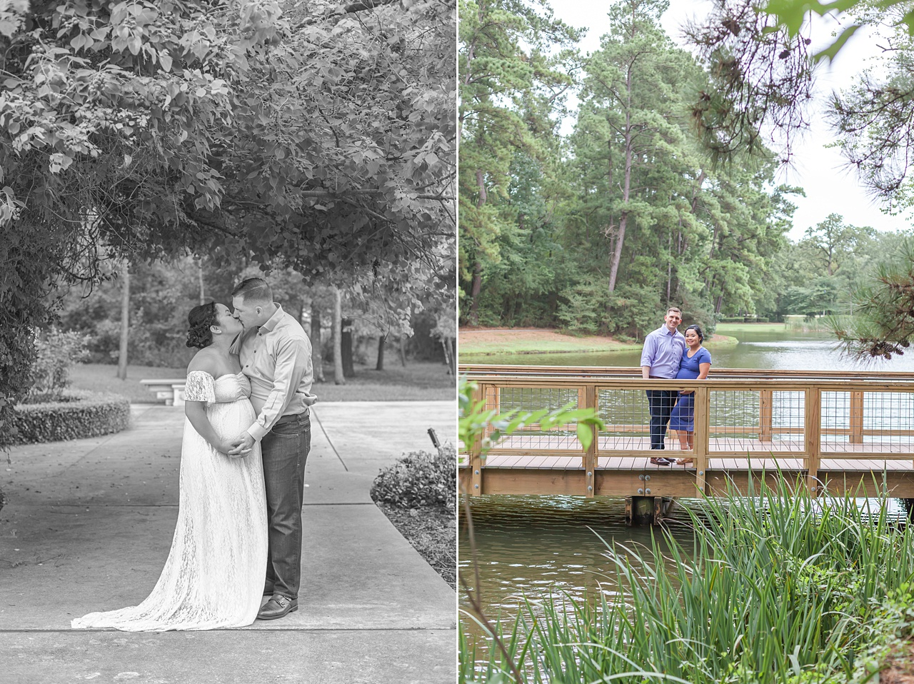 nature-themed maternity photography session on old wooden bridge in the woodlands tx