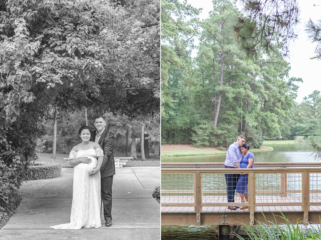 sweet maternity photography session outdoors in the trees the woodlands texas