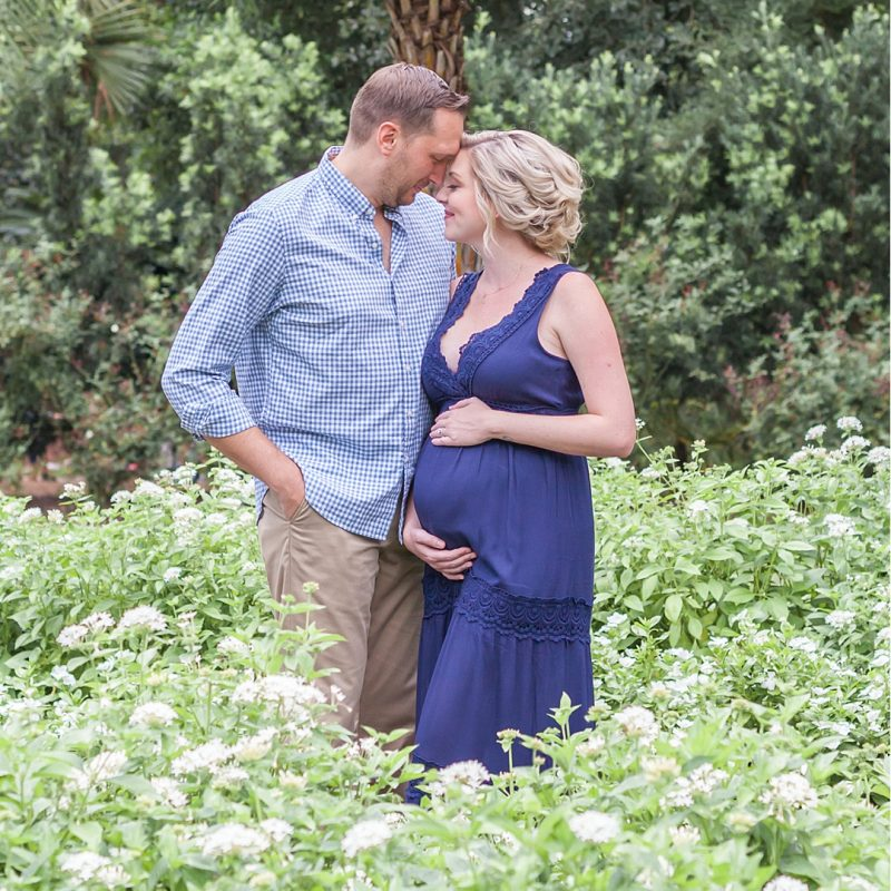 beautiful romantic maternity session featuring mother to be in navy by kristal bean photography