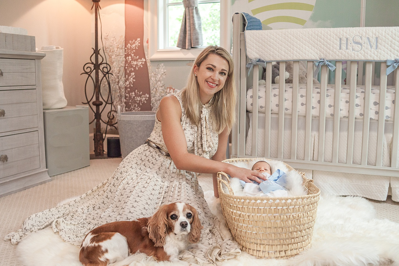 new mom with newborn and puppy photo session by kristal bean photography
