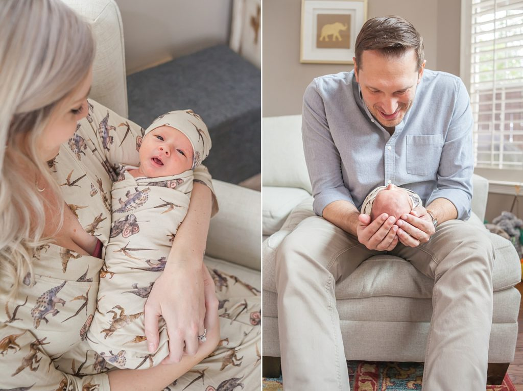 new parents snuggle with their newborn son in a new baby photo session in the woodlands texas