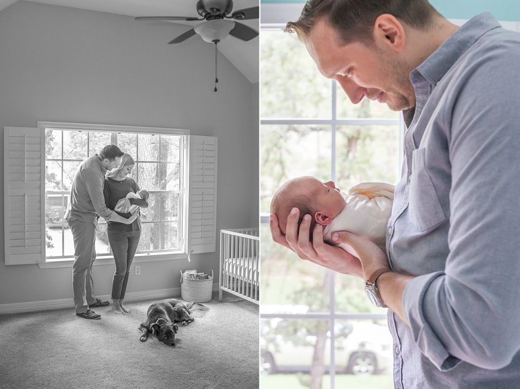 new father holds newborn son during at-home newborn photos by kristal bean photography