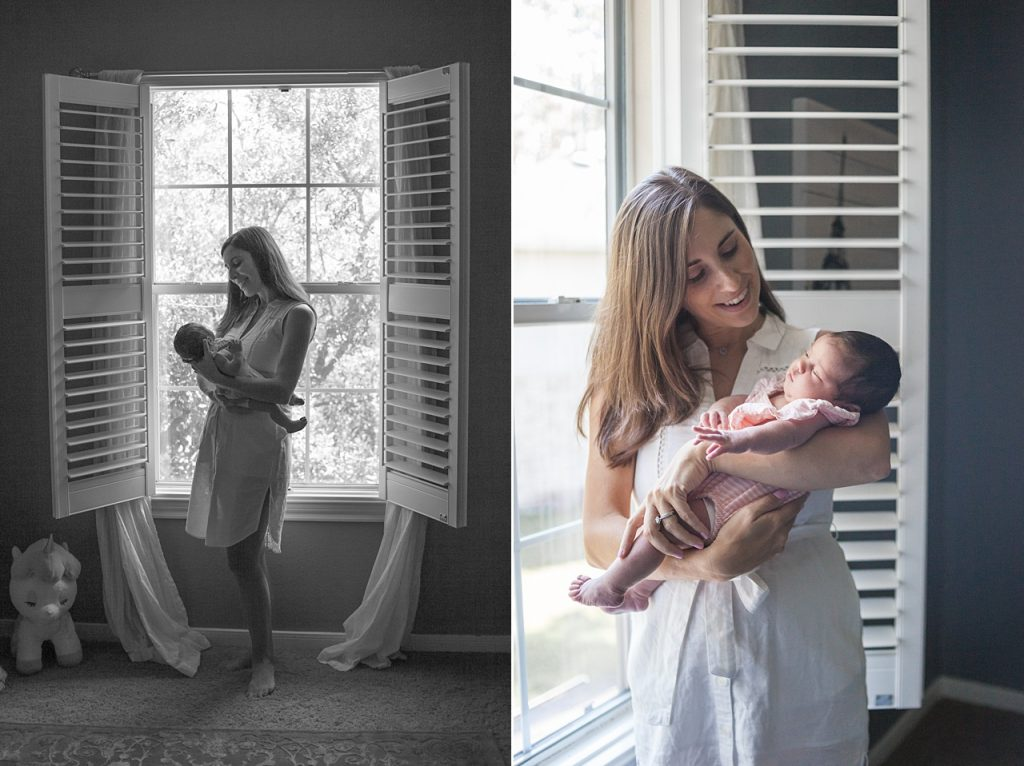 new mom with newborn and chocolate lab during newborn session with kristal bean photography