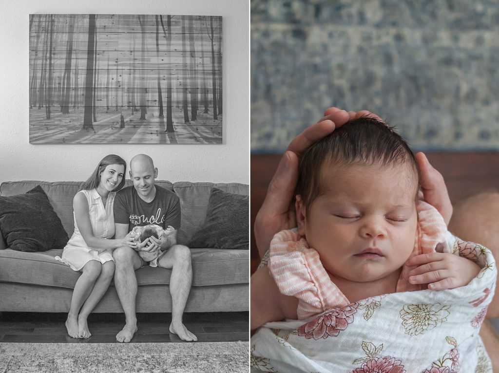 newborn cuddled with parents in at-home newborn photo session