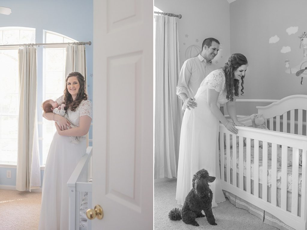the woodlands best newborn photographer features photos of new mom holding baby with puppy