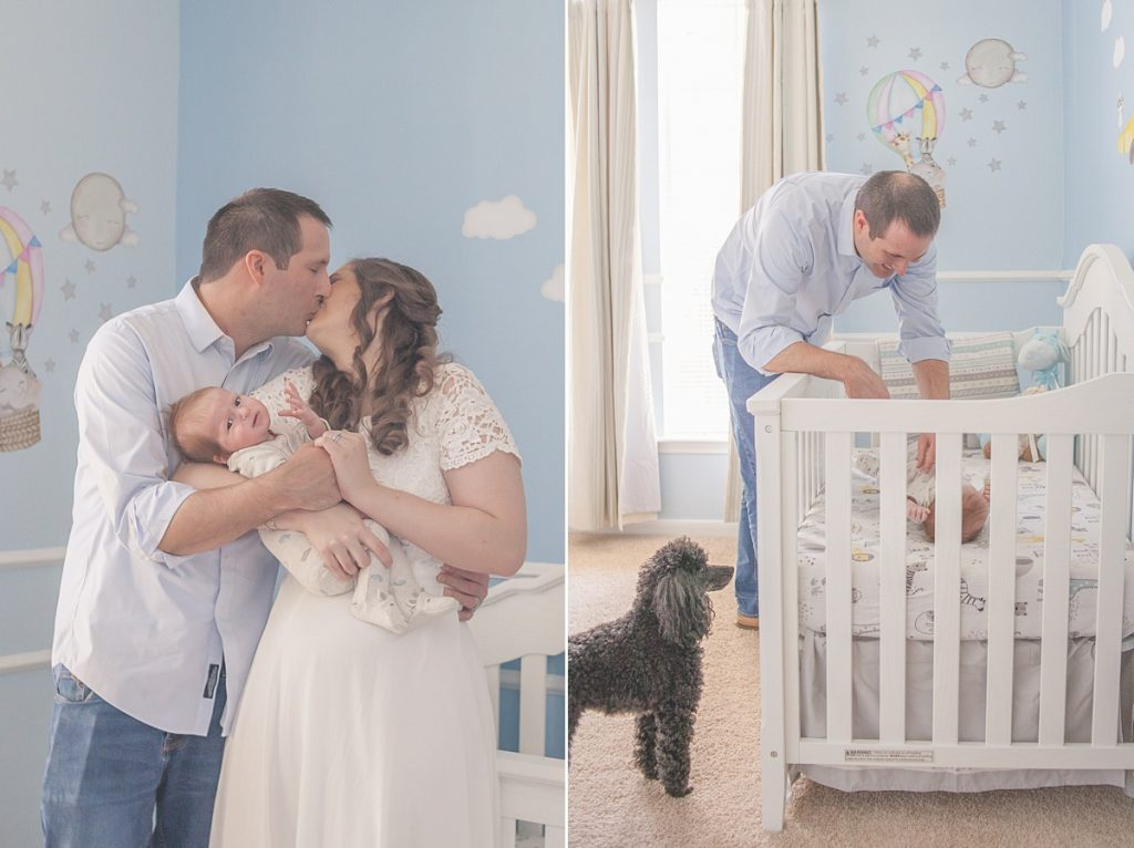 new parents snuggle with newborn son in at-home photo session in houston texas