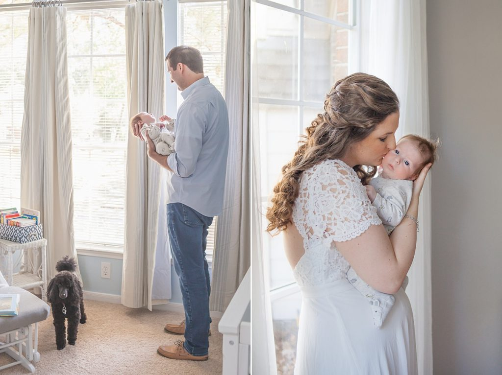 new parents hold newborn son in nursery during at-home newborn photo session by kristal bean photography