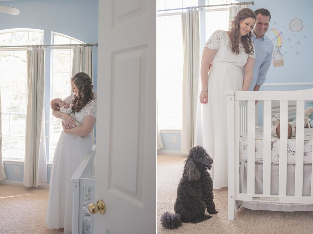 photos of newborn and family in baby's nursery by kristal bean photography
