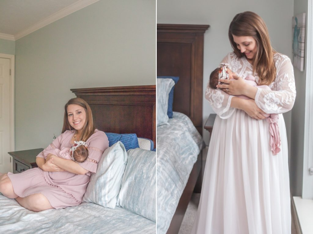 beautiful new mother in white flowing gown for newborn photos by kristal bean photography